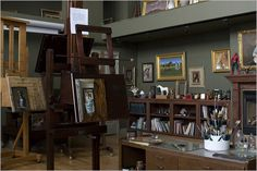 William Whitaker's beautiful studio space.  I love this color on the walls.  If I remember right, there is some good science behind this green, not taxing your eyes ability to see color... I could be making it up.  Can anyone give input and confirm? Colors