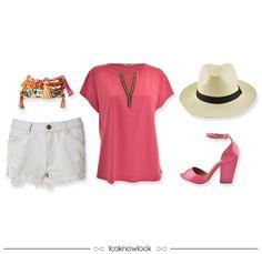 Bata rosa + Short jeans + Chapéu panamá + Pulseira miçangas + Sandália pink #moda #look #outfit #looknowlook