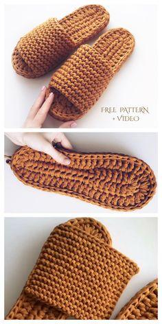 Diy Crochet Slippers, T-shirt Au Crochet, Knit Slippers Free Pattern, Crochet Shoes Pattern, Chunky Crochet, Easy Crochet, Crochet Patterns, Crochet House, All Free Crochet