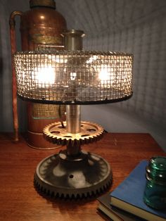 Steampunk table lamp repurposed from reclaimed industrial scrap and gears
