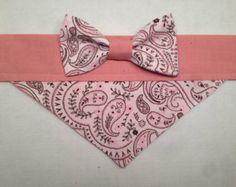Dog Bandana - Pink Paisley Print with Bow