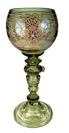 bohemian wine glasses | ... ANTIQUE SIGNED FRITZ HECKERT BOHEMIAN WINE GLASS ROEMER ENAMEL PRUNTS