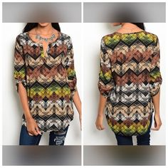 "NEWSO FALL!! MULTICOLOR GEOMETRIC TOP Loving the colors in this top. Totally Fall!!  Green, brown, and black work together in this geometric top with slitted neckline and 3/4 sleeves. 100% polyester. Small:  L29"" B18"" W17"" S - 2 M - 2 L - 0 Please comment size needed below.  PLEASE DO NOT BUY THIS LISTING. Allow me to make your separate listing for you or help you make a bundle ❤️.  NO PAYPAL NO TRADES. Price is firm unless bundled. Tops"