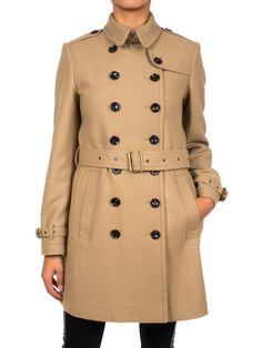 BURBERRY - Trench in lana con colletto - Cammello  - Elsa-boutique.it #Burberry <3