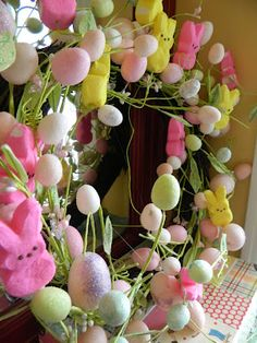 peeps wreath- just add them to a wreath you already have = instant easter fun!