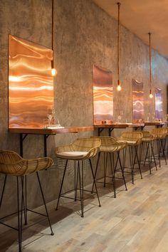 The Bandol Restaurant copper table closeup