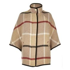 I'm shopping Beige wool-blend check cape coat in the River Island iPhone app.