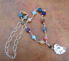 Multi-Color Agate and Silver Chain Necklace Jewel Toned, blues, pinks,  browns. $45.00, Fleece Flower Design via Etsy.
