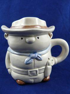 Vintage Figural Cowboy Mug Ceramic Tan White Brown Blue Made In Japan #Unbranded