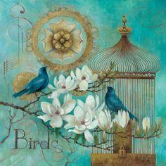 Blue Birds and Magnolia Schilderij van Elaine Vollherbst-Lane bij AllPosters.nl