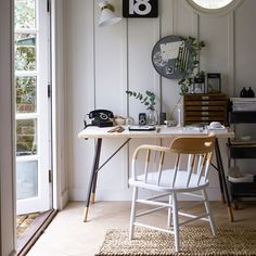 Garden office with white wood panelling | Small home office design ideas | Home office | PHOTO GALLERY | Homes & Gardens | Housetohome.co.uk