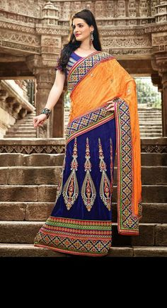 USD 177.89 Orange and Blue A Line Embroidery Lehenga Saree  30599