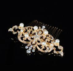 Vintage Gold Wedding Bridal Pearl Crystal Headpiece Hair Comb Accessories