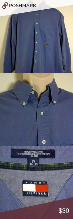 """Tommy Hilfiger Vintage 90's Men's Shirt Tommy Hilfiger Vintage 90'S Men's Medium Weight Long Sleeve Shirt Button Front XL  Very nice medium weight shirt. In excellent used condition. No signs of wear, like new! Please note measurements in description and pics to insure proper fit.  Size: 17 Neck/ 34-35 Chest  Measurements (approx) Chest (pit to pit): 27"""" Height (back of collar to hem): 32"""" Sleeve: 23"""" Tommy Hilfiger Shirts Dress Shirts"""