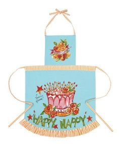 Amazon.com: Julia Junkin Happy Birthday Adult Apron, Blue/Pink: Home & Kitchen - the perfect way to commemorate my 50th birthday!  Found it for $8 at Home Goods today - Hooray!