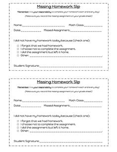 Middle School Math Madness!: Managing Missing Homework- Create a similar form to fit my class.