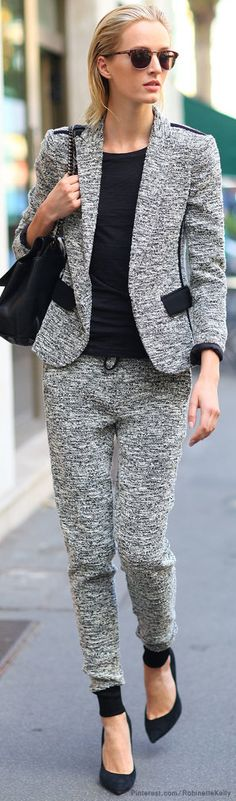 Milan Fashion Week | Street Style, love the relaxed style~~ This looks like a jeggings suit! :)