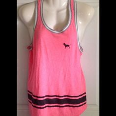 VS PINK HOT PINK TANK Hot pink with black stripe RACERBACK just so cute PINK Victoria's Secret Tops Tank Tops