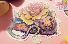 Sparkle rat sticker pack, glittery stickers, rat love, flower rat, orange rose, rat drawing, tattoo stickers, adorable, cute pet stickers by SilkyTea on Etsy