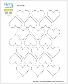 DIY Paper Heart Garland + A Free Printable - Vicky Barone Valentine Crafts For Kids, Valentines Day Decorations, Printable Heart Template, Printable Hearts, Free Printable, Paper Heart Garland, Paper Garlands, Chocolates, Paper Flower Decor