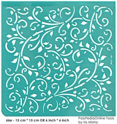 "Stencil Stencils Pattern Template ""Leaves"" 6 inch/15 cm, reusable, adhesive, flexible, for polymer clay, fabric, wood, glass, card making"