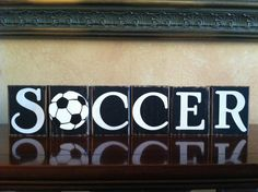 Wood Soccer Blocks - Bedroom Decor for Boys Room. $21.00, via Etsy.
