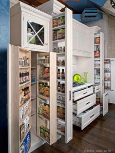 Pantry storage including swing outs, pull outs and drawers