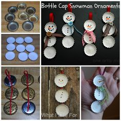 Bottle cap snowman ornaments -Maybe for boutique? Not sure.