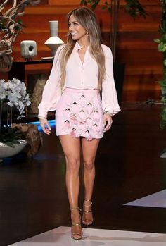 Jennifer Lopez wearing Giuseppe Zanotti Design Harmony Sandals, Lana Jewelry Vanity Hoop Earrings, Michael Kors Collection Silk-Georgette Shirt and Balmain Tassel Panel Skirt J Lo Fashion, Star Fashion, Fashion Outfits, Womens Fashion, Louboutin Pigalle, Actrices Sexy, Dress To Impress, Nice Dresses, Celebrity Style