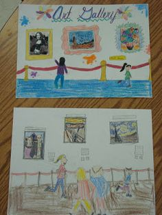 Art with Mrs. Parks: Stamps of famous works of art that students used in their report to the art museum