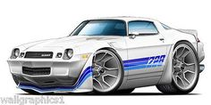 1980-81 Camaro Z-28 3ft Long Size Fatact Wall Decals Cartoon Car for Man Cave