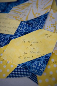 each quest recieves one...writes on it and then it will be made as a quilt! Cool for any memory reunion, wedding, retirement party etc...