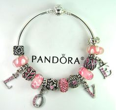Authentic Pandora Silver bangle charm bracelet with European Charms love gift #Pandoralobsterbangleclaspclaw #Europeanbangleanimaldragonflyheart