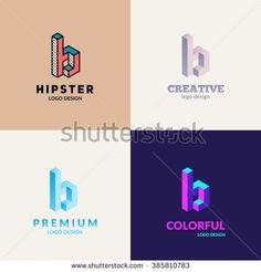 """Letter """"B"""" isometric logo set."""