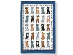 Irisches Leinen-Geschirrtuch: Katzen / Cats Gallerie - Tierisch-tolle-Geschenke