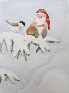 Christmas Gnome Painting by Rosanna Burford www.rosannaburford.com