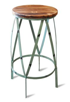 """The best gardens are formed with clean lines and understated style. So, too is our Garden Stool. Made with an elegantly curved, verdant green """"battered"""" steel frame, and a light solid timber seat. This appealing little seat suits many uses and will look great as a side table or chic cafe seat. 32cm diameter x …"""