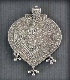 India | Old silver die-stamped amulet; probably Rajasthan