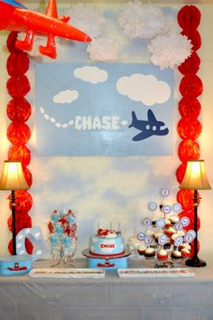 boy's plane birthday party dessert table www.spaceshipsandlaserbeams.com