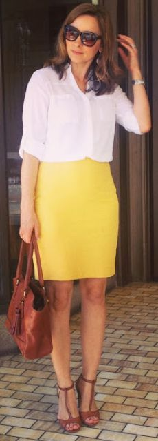 Outfit Posts: outfit post twofer: grey sweater, black dress pants, grey pointed toe pumps & white crepe button front blouse, mustard pencil ...
