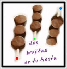 Brocheta de plátano y chocolate. Fiesta temática. Candy bar. Mesa dulce. Cumpleaños.