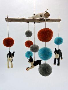 Boston Terrier Breed Dog Mobile, Baby Mobile, Dog Mobile, Teal, Gray, Orange. $252.00, via Etsy.