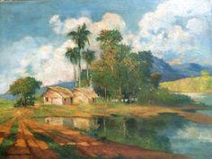 Clodomiro Amazonas, `Cena Rural`, Óleo sobre Tela, 45 x 60, datado em 1942, assinatura no canto infe