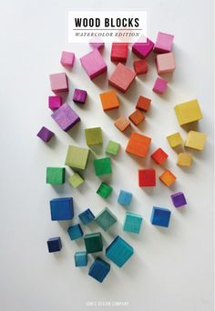 Make these diy watercolor wood blocks then play with them, or make up bags of blocks for other kids, or glue together for sculptures, or drill for jewelry, or glue on a board to make a clock, or use as dresser knobs, or... #make #craft #kids #wood #blocks #toys #DIY #woodworking #art #activity #classroom #school #design #modern
