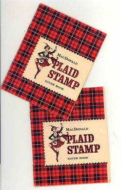 1960 Vintage MacDonald Plaid Stamps Saver Books w Stamps