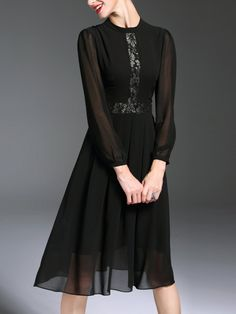 Paneled Elegant Long Sleeve Midi Dress