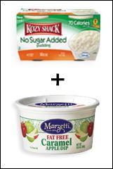 Kozy Shack No Sugar Added Rice Pudding + Light or Fat Free Caramel Dip = Goo-licious Caramel Goodnes           5  points