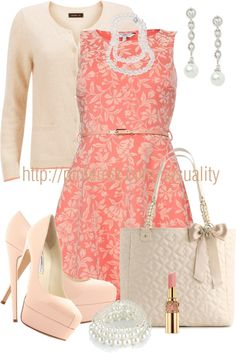 """""""Light Pink & Peach Floral Belted Dress"""" by casuality on Polyvore"""