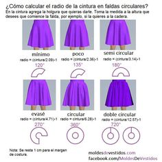 Circle skirt construction calculating the radius knowing your waist girth – ArtofitCircle Skirt Variations: … circle circle = circle = circle = circle = circle = or degrees). Diy Clothing, Sewing Clothes, Clothing Patterns, Dress Patterns, Sewing Patterns, Formation Couture, Circle Skirt Pattern, Costura Fashion, Diy Fashion Projects