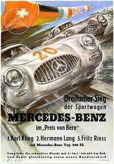Vintage historic racing car print Mercedes 1914 GP de l/'ACF George Oliver 1963